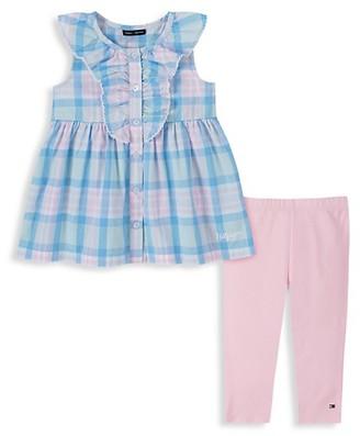 Tommy Hilfiger Little Girl's 2-Piece Check Flare Dress Leggings Set