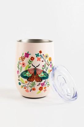 Orange Circle Studios® Floral Moth Wine Tumbler