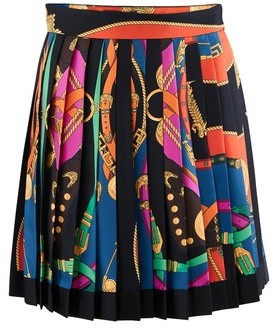 Versace Printed silk mini skirt