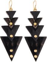 Ashley Pittman Multi-Tier Triangle Dark Horn Drop Earrings