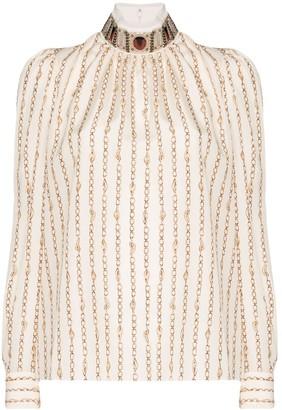 Chloé high-neck chain detail blouse
