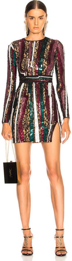 Murad Zuhair Geode Stripe Sequin Long Sleeve Mini Dress