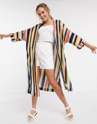 Monki stripe oversized kimono