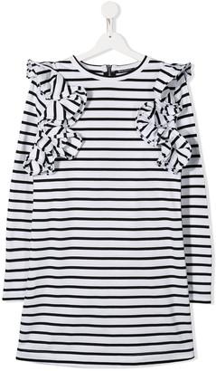 Balmain Kids TEEN striped ruffle dress