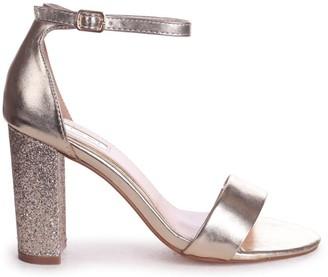 Barely There Linzi KORI - Gold With Glitter Block Heel