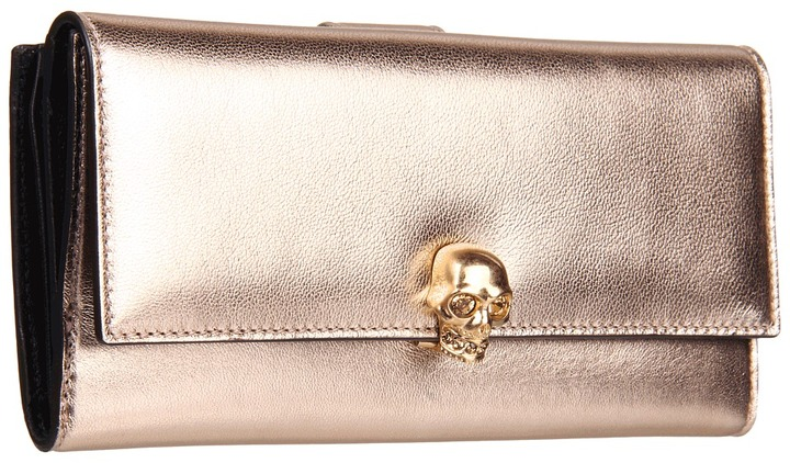 Alexander McQueen Continental Wallet (Blush/Rose Metal) - Bags and Luggage
