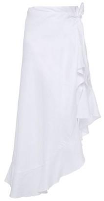 Miguelina Asymmetric Ruffle-trimmed Linen Wrap Skirt