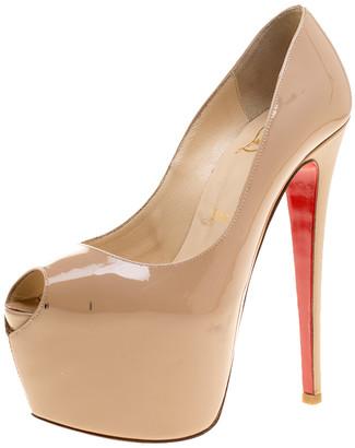 Christian Louboutin Beige Patent Leather Highness Peep Toe Platform Pumps Size 36.5