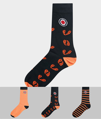 Lambretta 3 pack socks in paisley and stripe