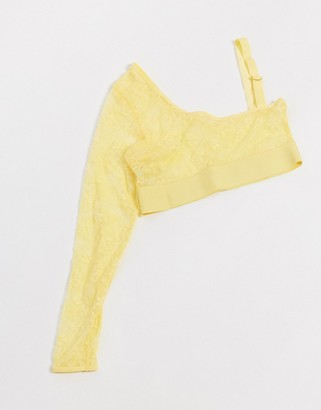 Tutti Rouge Fuller Bust Luna one sleeve lace bralette in yellow