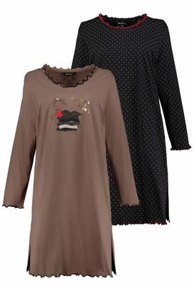 Ulla Popken Women's Bigshirts 2er-Pack Prinzessin Auf Der Erbse Reine Baumwolle Nightie