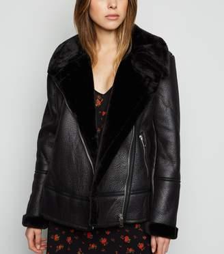New Look Leather-Look Aviator Jacket