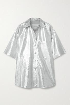 pushBUTTON Oversized Metallic Coated-twill Shirt - Silver
