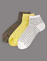 Autograph 3 Pair Pack Cotton Sheer Ankle Socks