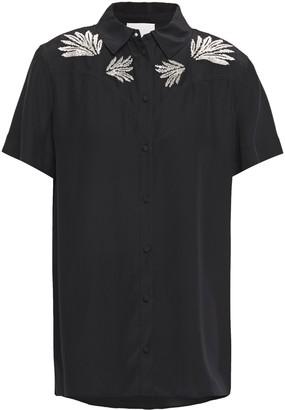 Cinq à Sept Bridget Embroidered Silk Crepe De Chine Shirt
