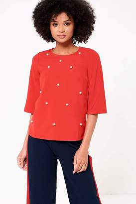 Iclothing iClothing Sarah Occasion Top with Pearl Detail in Red