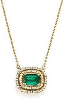 Bloomingdale's Emerald & Diamond Halo Pendant Necklace in 14K Yellow Gold, 18 - 100% Exclusive