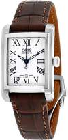 Oris Women's Rectangular Leather Band Automatic Watch 01 561 7656 4071-LS