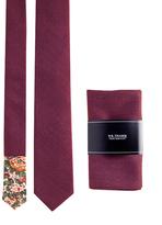 Claret Red Neck Tie & Pocket Square Set