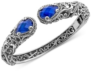 Carolyn Pollack Lapis Lazuli Doublet Filigree Bangle Bracelet (12 ct. t.w.) in Sterling Silver