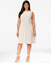 Calvin Klein Plus Size Sleeveless Faux Suede Fit-and-Flare Dress