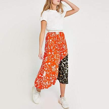 River Island Orange ditsy floral pleated midi skirt