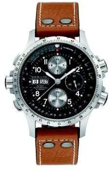 Hamilton Khaki Aviation X-Wind Auto Chrono Stainless Steel& Leather Strap Watch