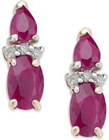 Macy's Ruby (1-3/4 ct. t.w.) & Diamond Accent Drop Earrings in 14k Gold