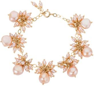 Amadeus Venus Pink Pearl Dangle Gold Chain Bracelet