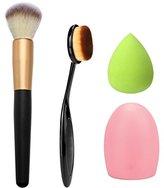 OVERMAL 4pcs Makeup Brush Makeup Sponge Makeup Brush Cleaner Foundation Brush