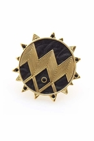 House Of Harlow Zig Zag Ring with Black Leather and Pave