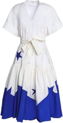 DELPOZO Gathered Cotton-poplin Midi Dress