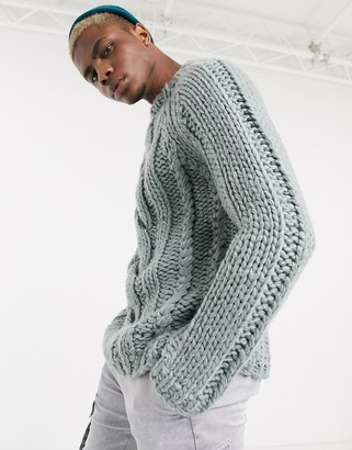 Asos Design DESIGN heavyweight hand knitted cable turtleneck sweater in silver blue