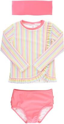RuffleButts Rainbow Stripe Two-Piece Rashguard Swimsuit & Head Wrap Set