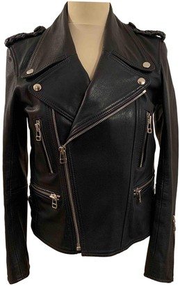 Faith Connexion Navy Leather Leather Jacket for Women