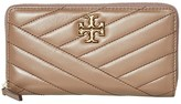 Tory Burch Kira Chevron Zip Continental Wallet (Classic Taupe) Handbags