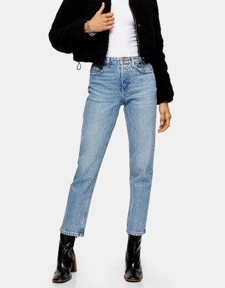 Topshop straight jeans with stitched hem in bleach wash