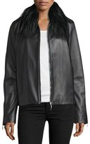 CNC Costume National Fur-Collar Zip-Front Leather Jacket, Black