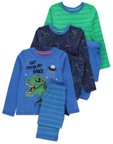 George 3 Pack Dinosaur Pyjamas