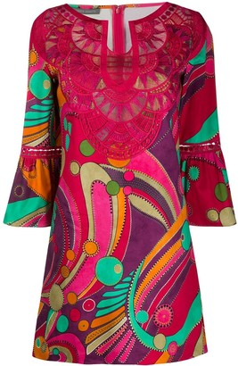 Alberta Ferretti Embroidered Neck Shift Dress