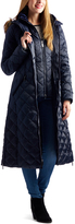 Laundry by Shelli Segal Navy Faux Fur-Trim Hooded Puffer Coat
