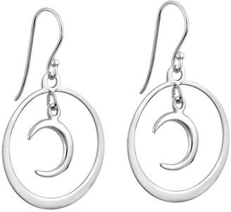 Aeravida Handmade Symmetry Crescent Moon Hoop Sterling Silver Dangle Earrings