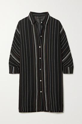 Vix Dani Striped Cotton-voile Mini Dress - Black