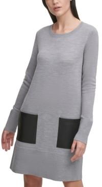 DKNY Faux-Leather-Pocket Sweater Dress