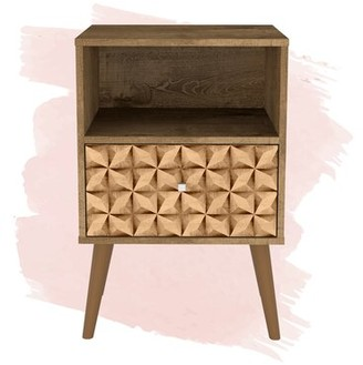 Foundstone Hayward 1 - Drawer Solid Wood Nightstand Color: Rustic Brown/3D Brown Print