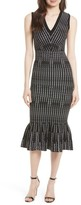 Milly Women's Vertical Optic Mermaid Midi Dress