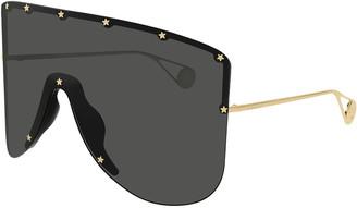 Gucci Rimless Shield Sunglasses w/ Star Studs