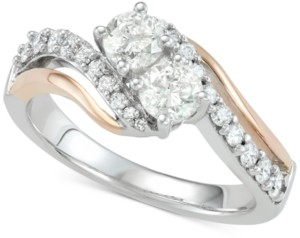 Two Souls, One Love Diamond Two-Stone Two-Tone Engagement Ring (1 ct. t.w.) in 14k White & Rose Gold