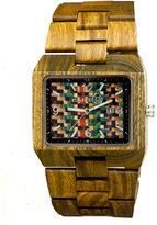 Earth Wood Rhizomes Skateboard-Dial Olive Bracelet Watch With Date Ethew1208