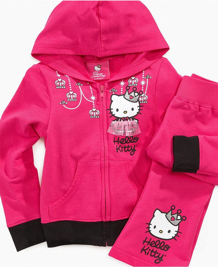 Hello Kitty Kids Hoodie, Little Girls Glitter Graphic Hoodie